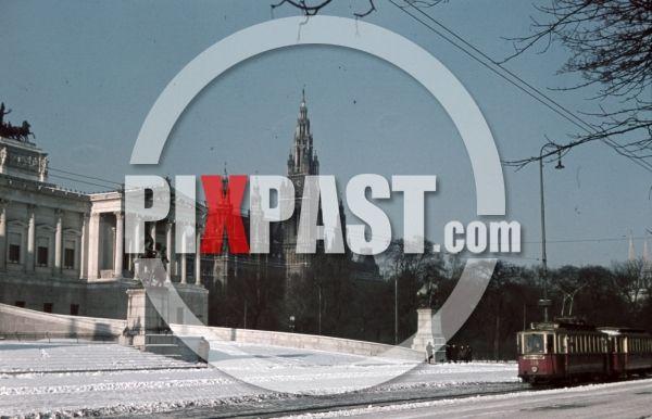 WW2 color photo showing Parliament Building, Vienna, Austria tram City Hall Rathaus WIEN 1942