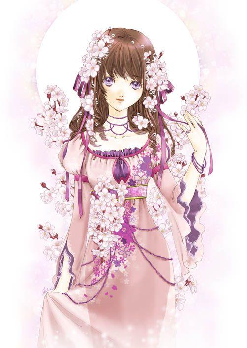 Cherry tree princess with brown hair, violet eyes, pink dress, lavender flowers, & purple ribbon by manga artist Shiitake.