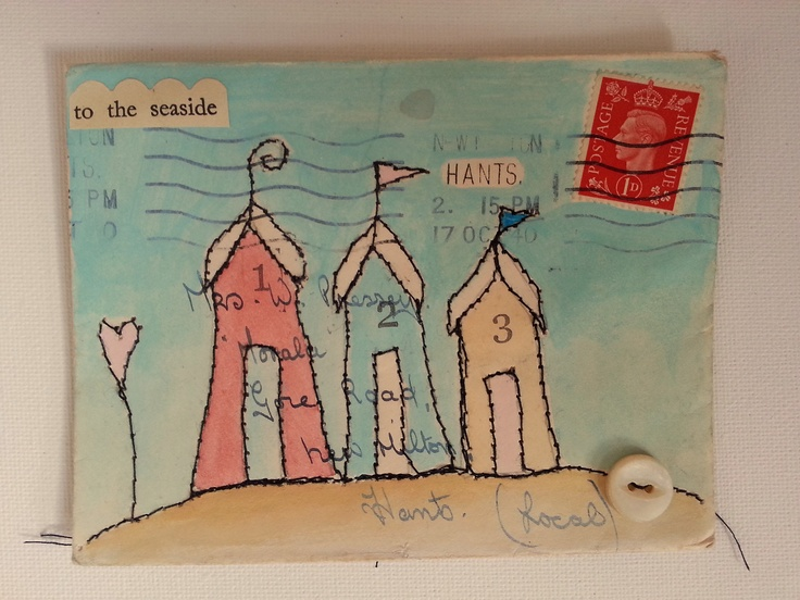Mixed media on envelope  'To the seaside'
