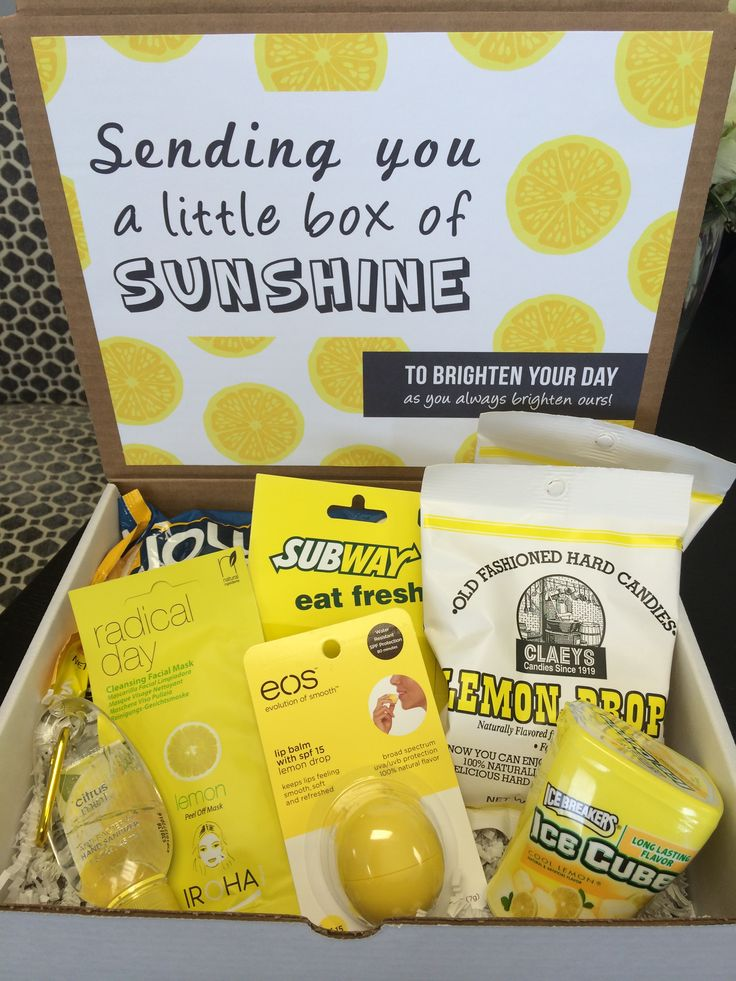 Sunshine in a Box gift box | For someone who needs a little sunshine in their life. Box includes Subway gift card, old fashioned lemon drops, lemon Jolly Ranchers, citrus lip balm, lemon Ice Breakers, citrus hand sanitizer, and a lemon cleansing facial mask.