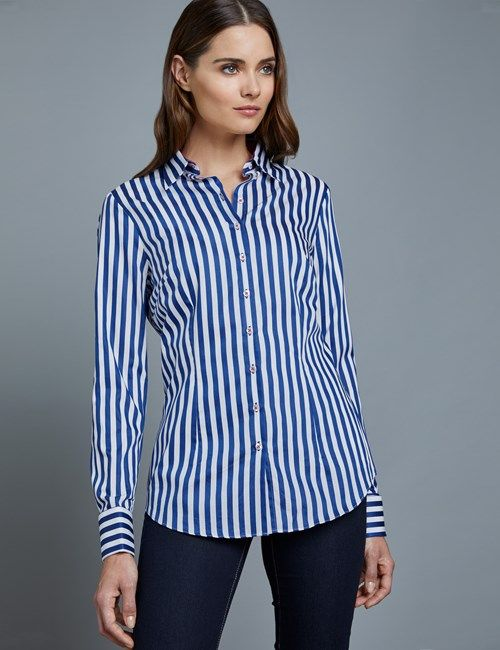 9e133a1e7a Women s White Fitted Shirt with Contrast Detail - Double Cuff in ...