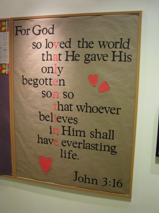 Valentines Day bulletin board with the REAL meaning of Love.