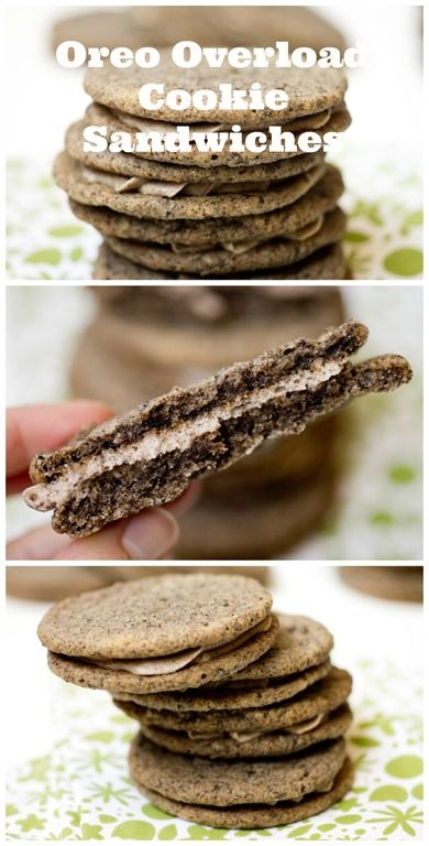 Oreo Overload Cookie Sandwiches - Chewy cookies infused with Oreo Crumbs and slathered with a Cookies n Cream filling!