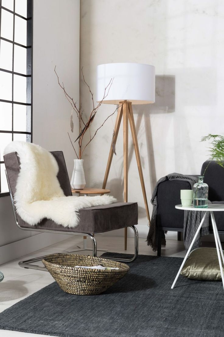 Tripod wood floor lamp with sofa grouping