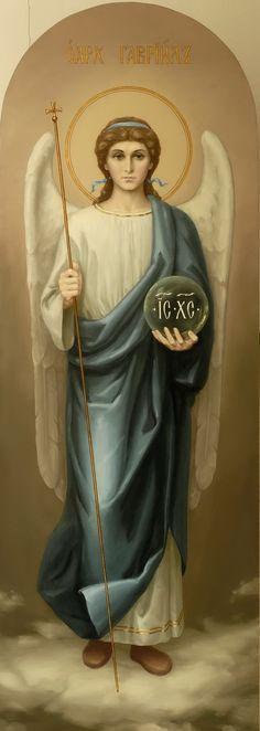 Архангел Гавриил. Икона церкви Николая Чудотворца, Александро-Невская Лавра. Архангел Гавриил изображается на иконе как глашатай Бога. Гавриил (буквально - Божья сила), посланец Бога, ангел Благовещения.