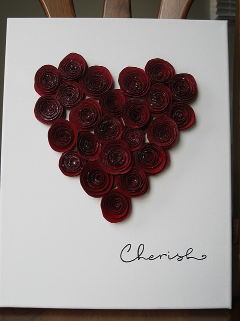 Rolled red paper glued in a heart shape: Diy'S Valentine, Valentine Idea, Card Art, Valentine Day, Heart Canvas, Thrifty Decoration, Valentine Heart, Diy'S Canvas Art Roses, Heart Shapes
