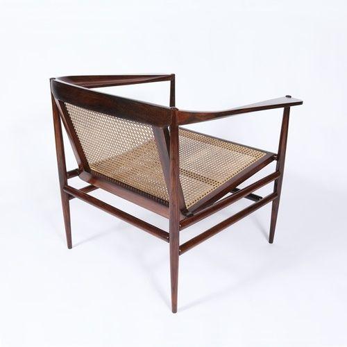 Joaquim Tenreiro jacaranda and cain armchair, c. 1960 Brazil. Exhibited by James at Paris Art Design (PAD) / PAD Fairs