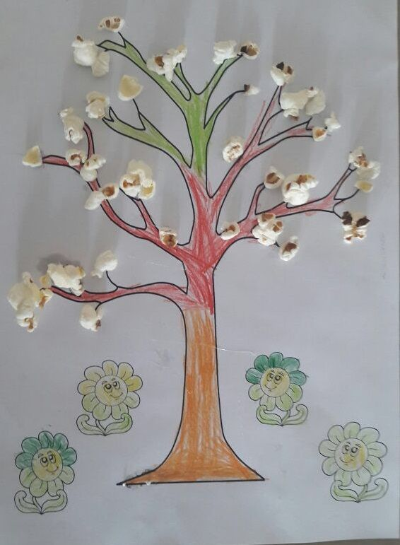 Popcorn Spring Tree Craft For Primary School Or Preschool This Page Includes A Lot Of Free Ideas Preschoolersfirst Grade