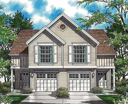 Plan W69377AM: Curb Appeal in Traditional Duplex Plan Elevation