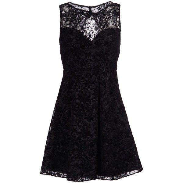 Alice+olivia Short Dress ($325) ❤ liked on Polyvore featuring dresses, black, black sleeveless dress, black dress, black velvet cocktail dress, black mini dress and flare dress