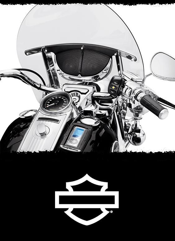 This Boom!™ Audio Cruiser Amp and Speaker Kit features a stylish black and chrome enclosure that mounts to the inside of the windshield, and because it rests below the cross brace, it maintains a low-profile appearance.   Harley-Davidson