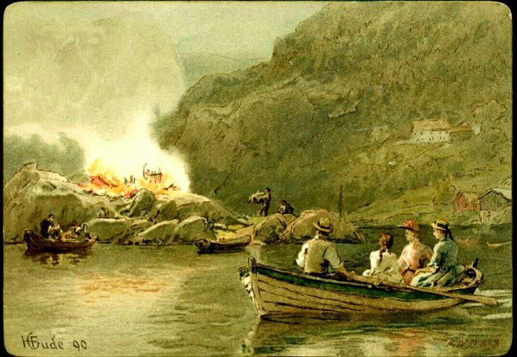 Kunstnerkort GUDE, H. Flott kartongkort med motiv fra St. Hans. Båter på sjøen med folk og bål på stranden. Br. 1902-03