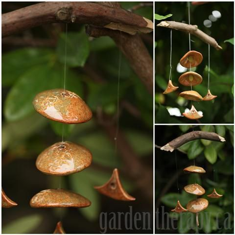Bamboo glazed ceramic and branch wind chime via www.gardentherapy.ca