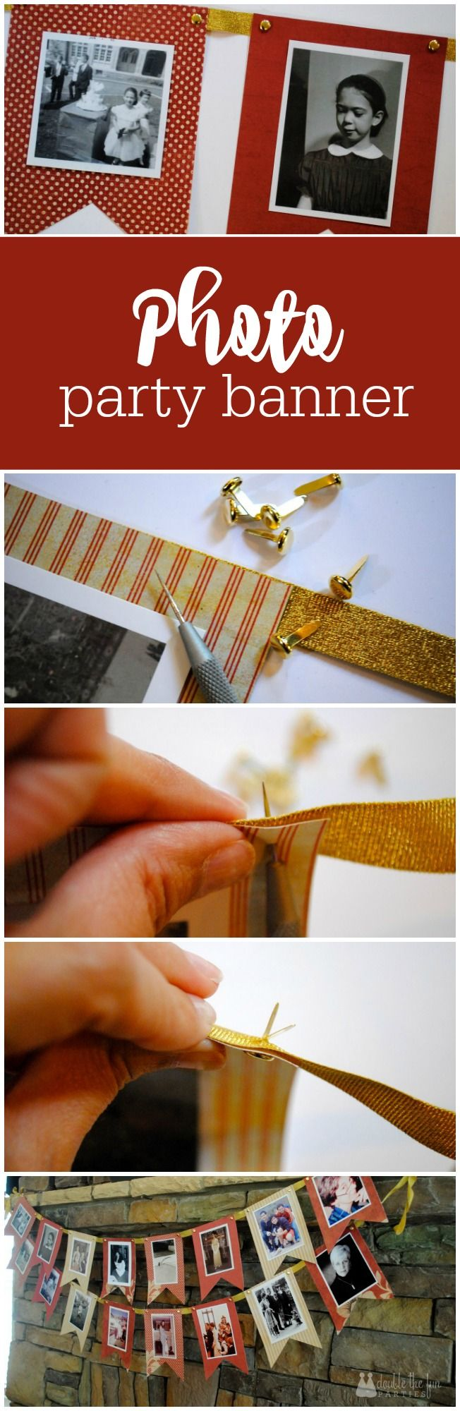 How to make a DIY photo party banner - great for any age birthday party by The Party Teacher | http://thepartyteacher.com/2013/04/30/tutorial-brass-fastner-banner/