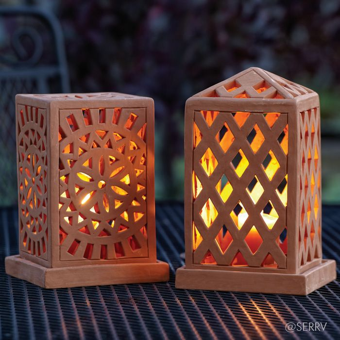 Terracotta Lanterns  Openwork terracotta lanterns emit a lovely glow when lit, emphasizing the carved geometric design of each. Top lifts off base for placement of tea light. #Fairtrade www.serrv.org