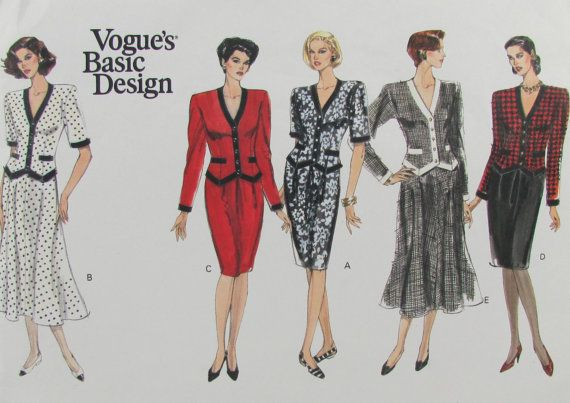 Vogue 2421 Misses Size 6810 Skirt Top 1990s by SewingPatternsPast, $10.00