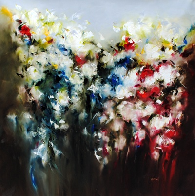 Night Garden Roses - painting by Carole Arnston at Crescent Hill Gallery