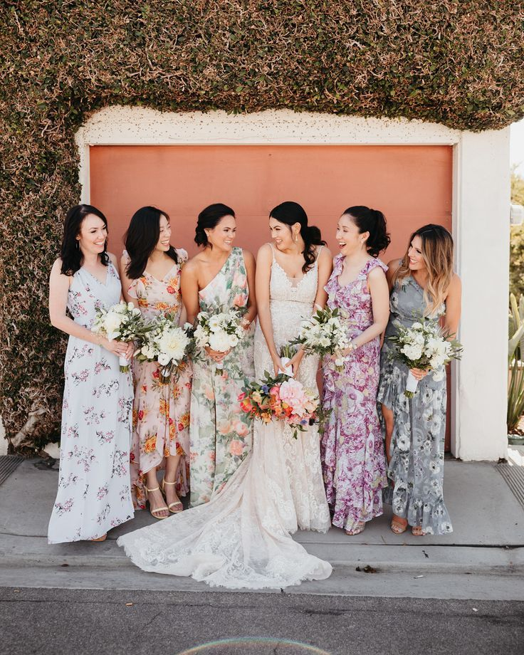 How To Nail The Mismatched Bridesmaids Look Green Wedding Shoes In 2020 Floral Bridesmaid Dresses Beach Wedding Bridesmaid Dresses Floral Bridesmaid Dresses Mismatched
