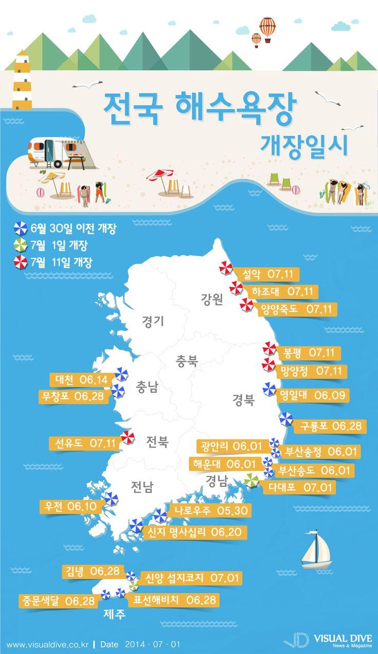 전국 주요 해수욕장 개장 정보 알아볼까 [인포그래픽] #beach / #Infographic ⓒ 비주얼다이브 무단 복사·전재·재배포 금지