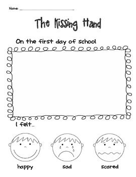 """Another """"The Kissing Hand"""" writing/drawing activity for the first day of school."""