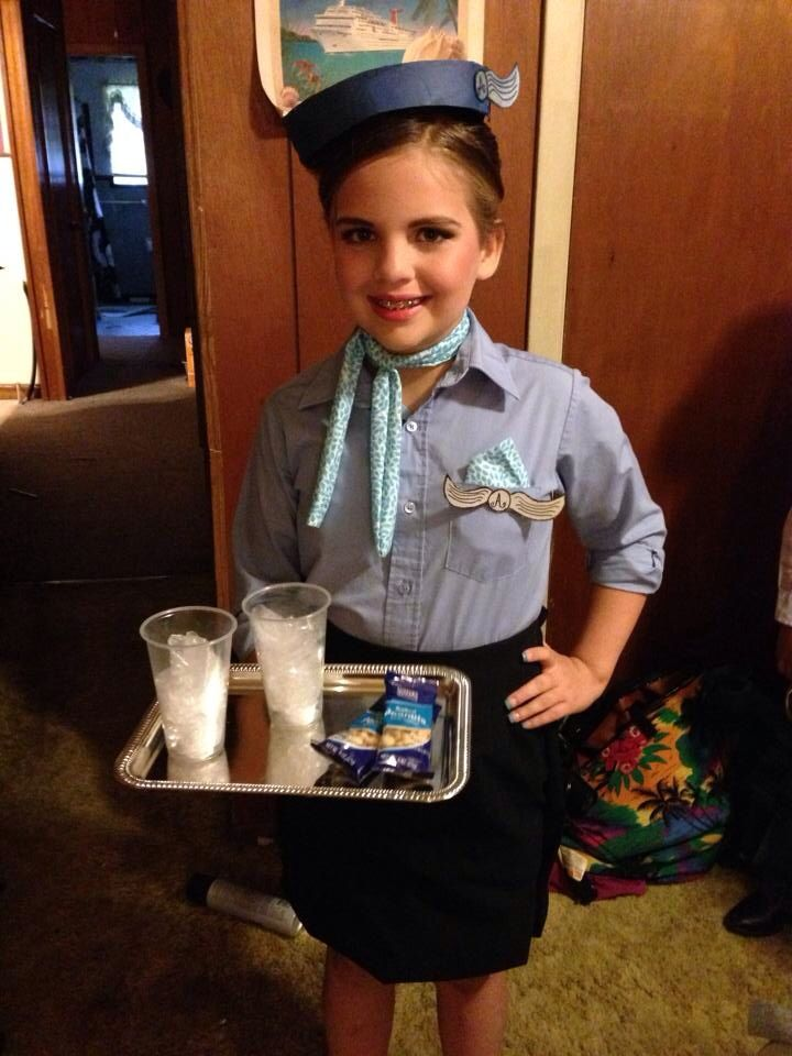 Halloween costume idea, flight attendant. Stewardess girl (use cardboard for hat/wings.. Button down shirt and blue skirt. Buy dollar store tray, hot glue plastic cups filled with plastic and nuts to tray) hot glue strap on bottom of tray to slip hand through