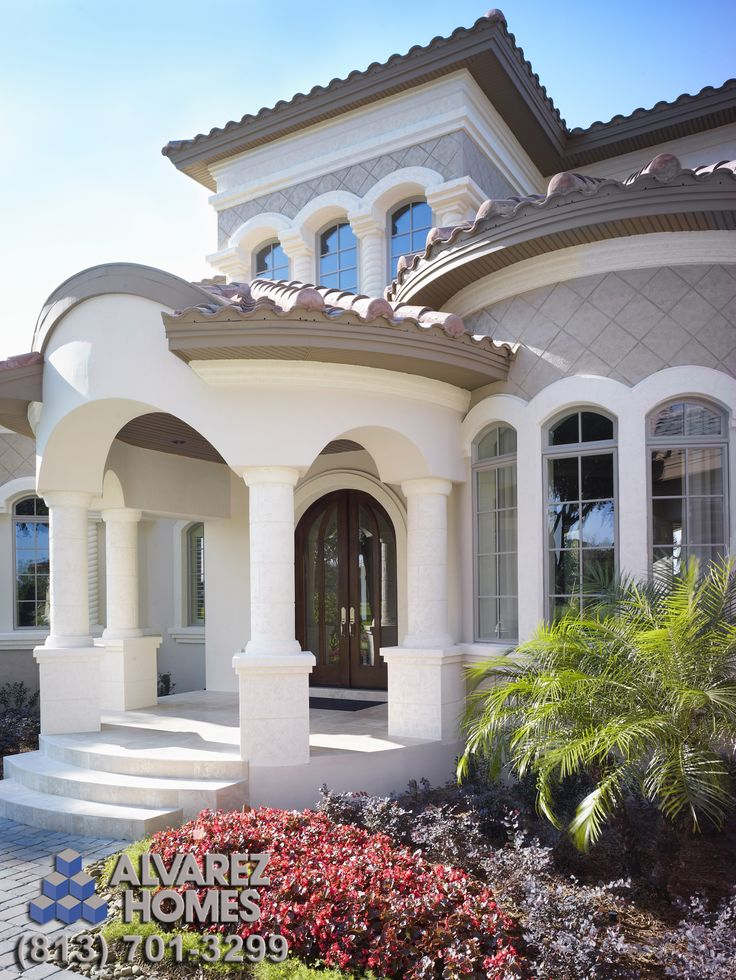 The Audrey Front Entry by Luxury Home Builders Alvarez Homes - (813) 701-3299 Mediterranean elegance at its finest! http://www.alvarezhomes.com/tampa-home-builders-portfolio-of-homes/the-audrey