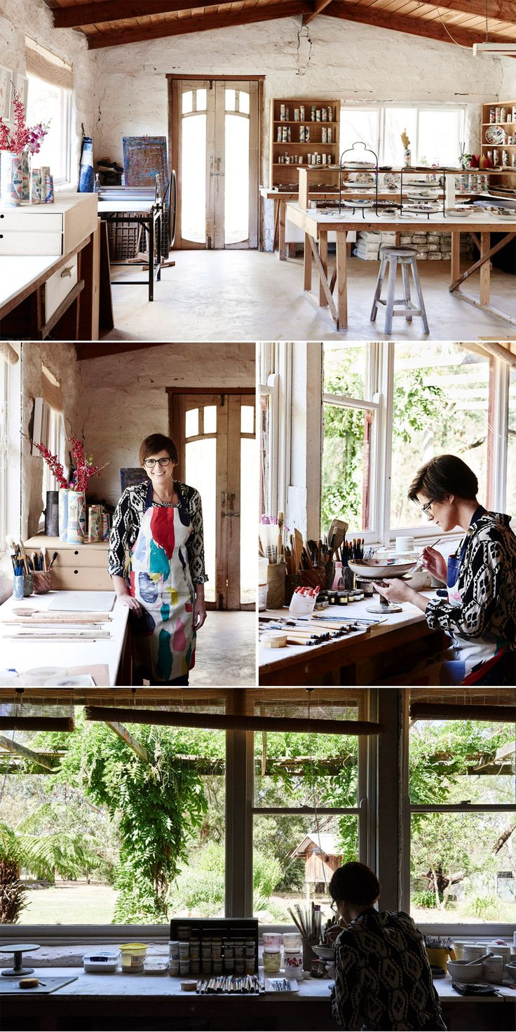 This is Ruby Pilven's studio. She lives in Victoria Australia and creates beautiful, colorful, ceramic jewelry. http://www.rubypilven.com/
