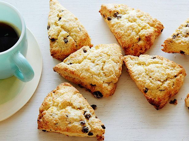 """CREAM SCONES WITH CURRANTS RECIPE: ~ From: """"Food Network.Com"""". ~ Recipe Courtesy of """"Food Network Kitchen"""". ~ Prep.Time: 30 min; Cook Time: 15 min. Total Time: 45 min; Level: Easy; Yield: (8 scones)."""