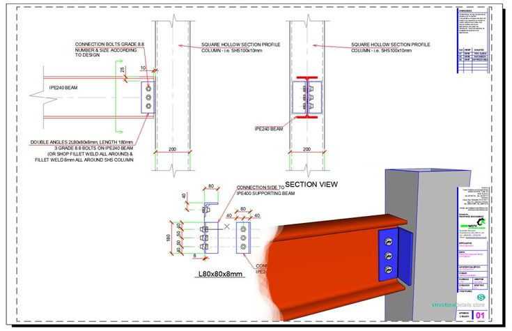 Double Angle Web Cleats Simple Beam To Shs Column