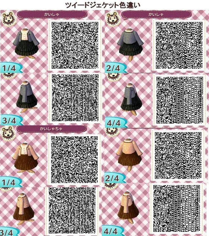 Kleider QR Codes – Animal Crossing New Leaf – ACNL new town