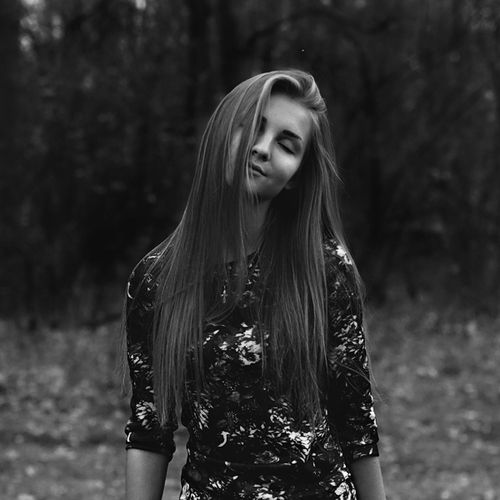 bw, girl, long hear, dress, flowers, fashion