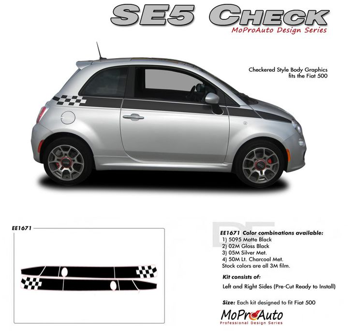 "2011 2012 2013 2014 SE 5 CHECK : Fiat 500 Vinyl Graphics Kit Vinyl Graphics Decals Striping Kit ""Factory OEM Style"" with Professional Automotive Vinyl at a Discount Price!"
