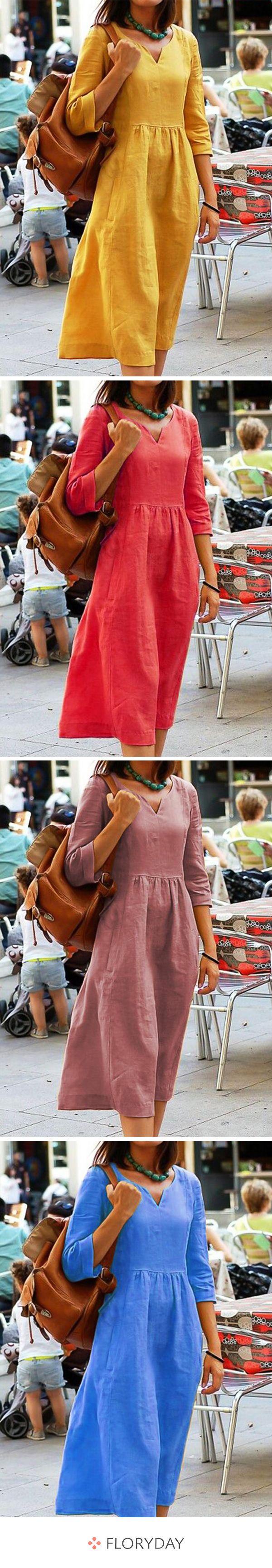 Knielange Kleider mit Taschen und 3/4 Ärmel  – Elli