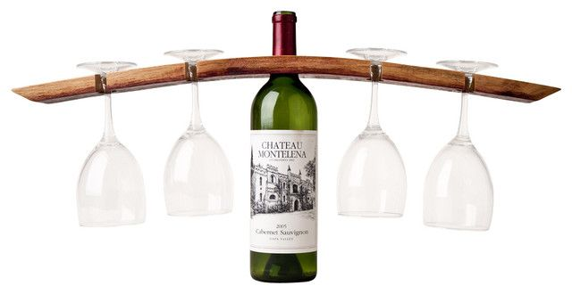 Double Butler Wine Glass and Bottle Holder ~  A curved, reclaimed wine barrel stave is cut and drilled to hold four stemmed wineglasses on top of a bottle of your favorite vintage. | http://www.houzz.com/photos/4237434/Double-Butler-Wineglass-and-Bottle-Holder-contemporary-wine-racks