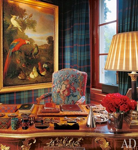 Ralph Lauren's Bedford, NY home.  Mad for Plaid.