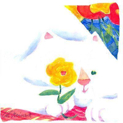 Carolines Schätze Big White Cat Indoor / Outdoor Throw Pillow