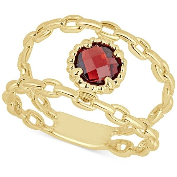Rhodolite Garnet Double Chain Statement Ring (1-1/10 ct. t.w.) in 14k... ($900) ❤ liked on Polyvore featuring jewelry, rings, garnet, yellow gold garnet ring, yellow gold rings, double chain ring, gold statement ring and 14k ring