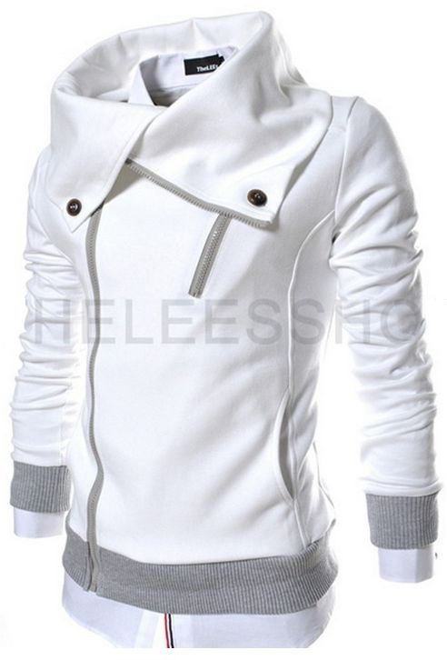 Supersized Collar Hoodie In White