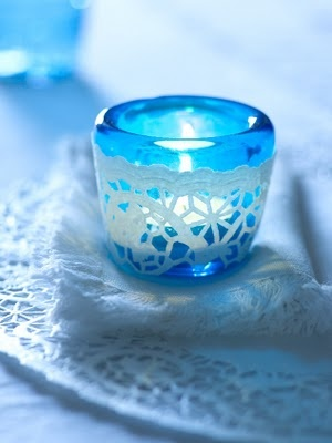 paper doily around votive