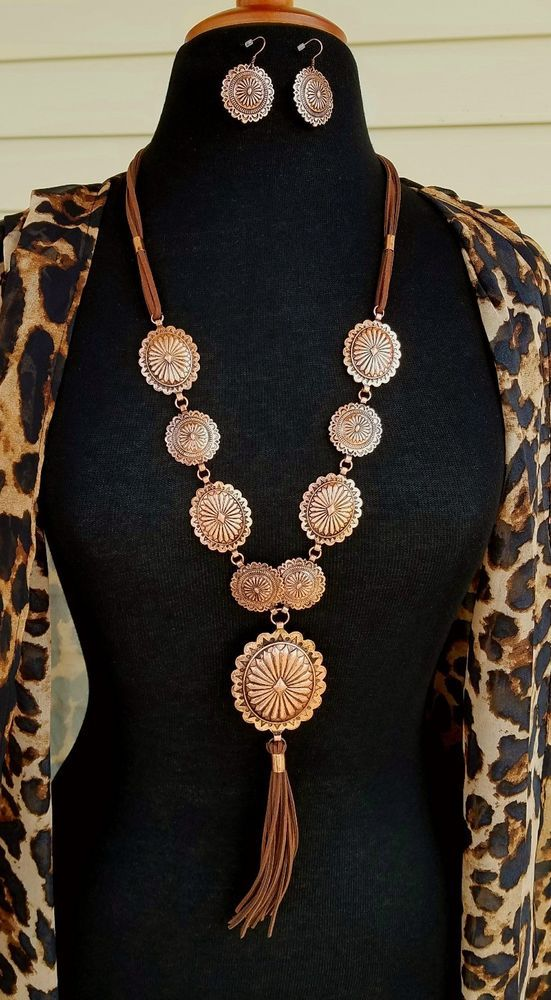 Cowgirl BLING Copper Tone CONCHO NECKLACE set Southwestern Gypsy Western | Jewelry & Watches, Fashion Jewelry, Jewelry Sets | eBay!