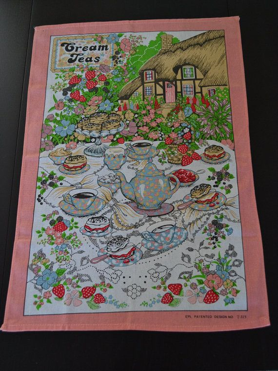 Vintage TeaTowel Dish Towel Cream Tea by AuralesArtifacts on Etsy, £8.00