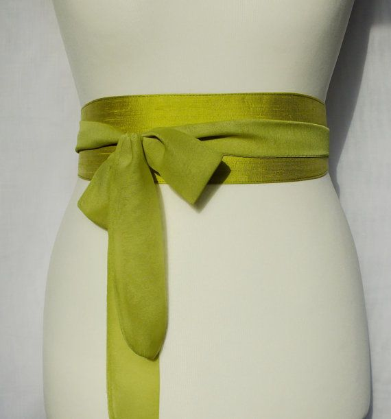 Wide lime green silk belt obi sash with chiffon by EmmaBeLoved