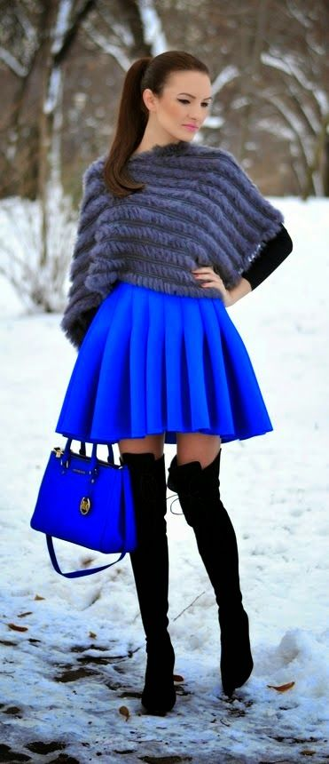Grey Faux Furry Cape Royal Blue Pleated Skirt #streetstyle