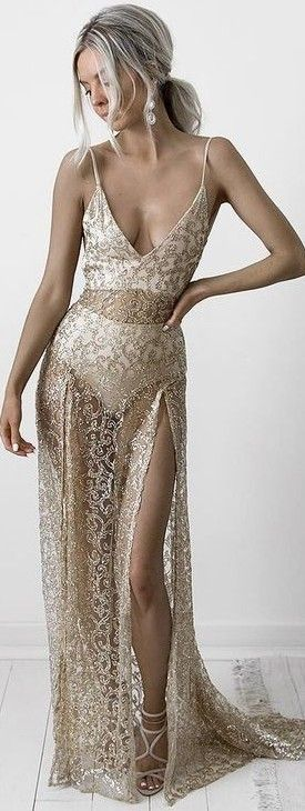 #summer #feminine #outfits   Gold Lace Maxi Dress