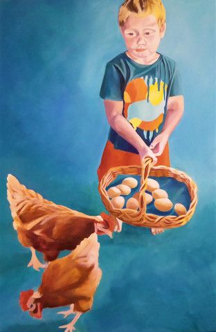 "17 Trove Exhibition ""Farmyard Bounty"" Original Artwork 51 cm x 92 cm"