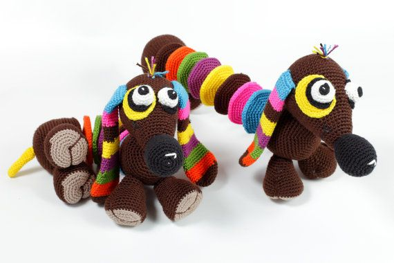 Crochet baby toy Baby educational toys Dachshunds от MioLBoutique