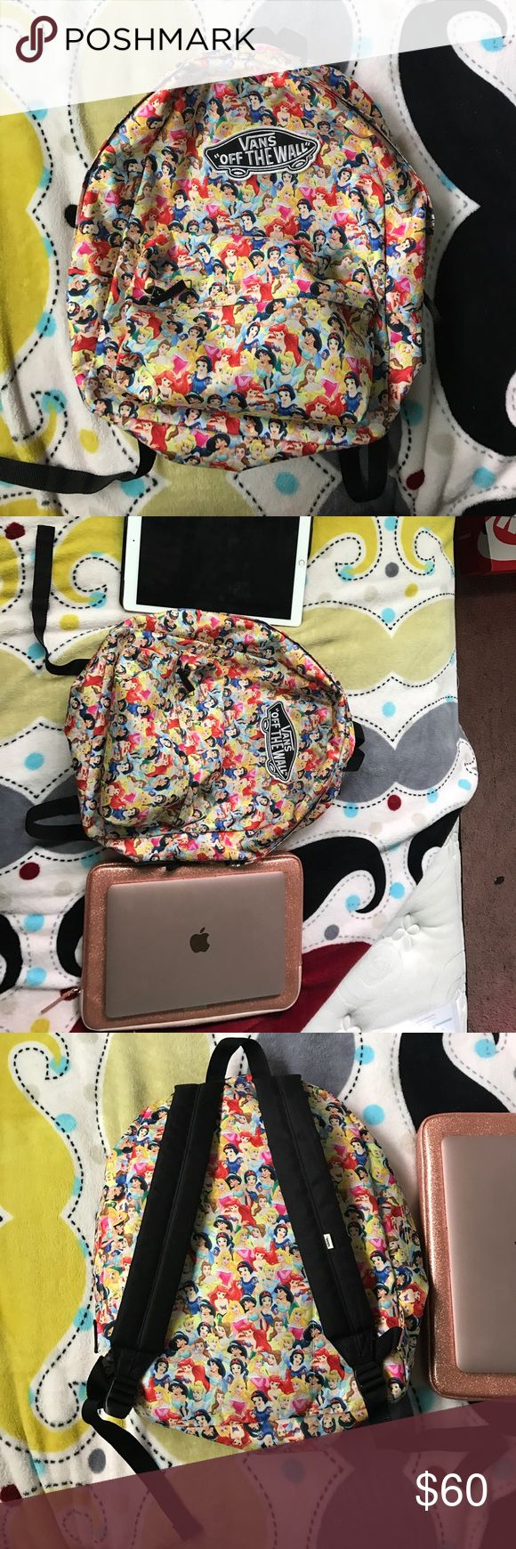 Disney princess vans backpack Used Disney princess vans backpack... I used it for 2 semesters of college last year.. in great condition.. no stains, holes, or rips... smoke free home.. the small front zipper area smells like peppermint because of the gum that I stored in it.. flawless! Can fit a regular size notebook and binder and an apple iPad Pro and a MacBook laptop. Hard to find Vans Bags Backpacks