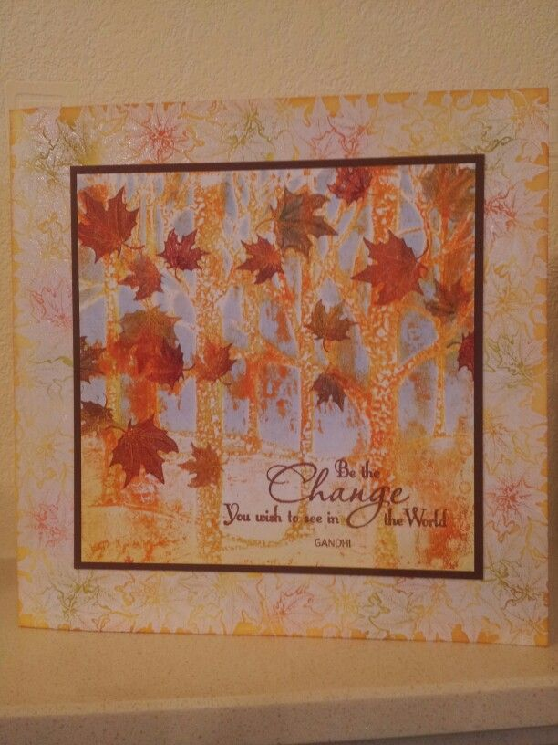 A gelli print using a Clarity woodland stencil was the starting point for a celebration of autumn colour.