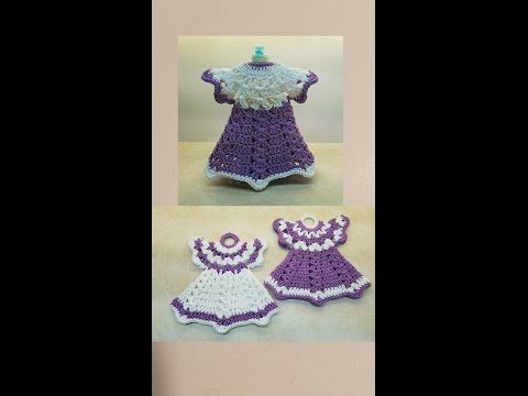 How To Crochet A Pair of Vintage Dress Potholders & Dish Soap Cover TUTORIAL DISH SOAP COVER  #381 - YouTube