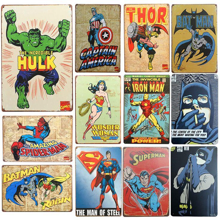 New SuperHero Batman Chic Home Bar Vintage Metal Signs Home Decor Vintage Tin Signs Pub Vintage Decorative Plates Metal Wall Art